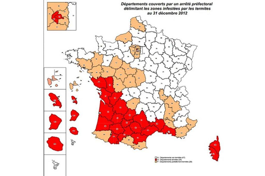 Diagnostic Termites : les départements français infestés par les termites